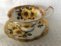 Queen Anne Tea Cup and Saucer Set Yellow Pansies Heavy Gold