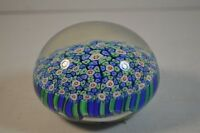Vintage Murano Art Glass Millefiori Paperweight in Blue and Green