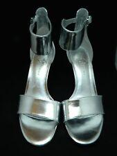 IVANKA TRUMP SHOES GELANA Silver Metallic Ankle Strap Open Toe Pumps Heels 9.5