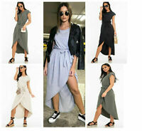 Womens Ladies Cap Sleeve High Low Hem Wrap Belted Long Maxi Split Party Dress