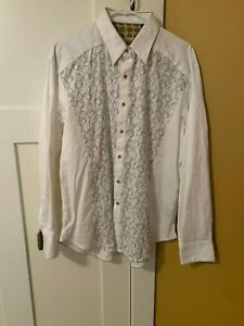 ROBERT Graham SPORT Shirt, Large, white, embroidered
