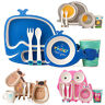 TINY FOOTPRINT Cute Animal Bamboo Eco Friendly Children's Dinner Meal Set 5pcs