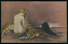 sg Zandrino Art Deco nude lady with a Panther original old 1920s postcard