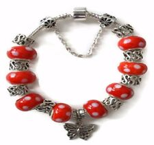 Butterfly European Silver Charm Bracelet With Red Murano Beads