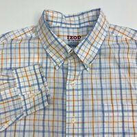 Izod Button Up Shirt Men's Size 2XL XXL Long Sleeve White Blue Orange Plaid