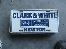 CLARK WHITE MERCURY NEWTON MASSACHUSETTS MA DEALERSHIP BOOSTER LICENSE PLATE