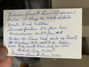 USS INDIANAPOLIS Survivor Louis Erwin signed DETAILED 3x5