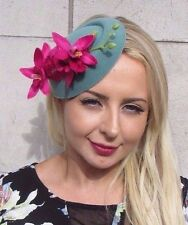 Hot Pink Teal Green Orchid Flower Pillbox Hat Fascinator Races Rockabilly 3087