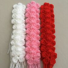 30  NEW HANDMADE  CROCHET FLOWERS  PINK , RED , WHITE COLOUR  SIZE 3 CM