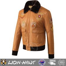 Pashmeer Lion-Hawt Mens Aviator Pilot Bomber Jacket Badges Cognac Fur Collar