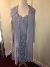NWT VEROMIA BLUE LACE AND CHIFFON SHIFT DRESS WITH CHIFFON JACKET SZ 26 RRP £455