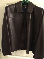 Cole Haan men's lambskin leather jacket in chocolate brown, size M