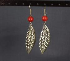 "Coral Red gold leaf earrings lightweight dangle leaves 3.5"" long textured"
