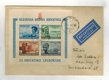 1945 Croatie Housse Waffen Ss Bénévoles Souvenir Feuille Feldpost à Allemagne