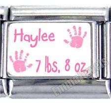 Pink Baby Girl Handprints Custom Name Weight 9mm Italian Photo Charm New