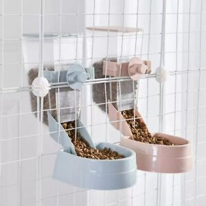 Pet Dog Puppy Suply Cage Hanging Food Bowl Feeder Drinking Dispenser Portable 2L