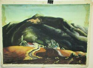 LOS ANGELES CALIFORNIA FOOTHILLS 1930'S ORIGINAL WATERCOLOR LANDSCAPE PAINTING