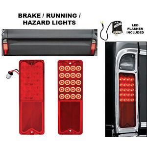 67-72 Chevy GMC Truck LED Park Brake Tail Light Turn Signal Lens Pair w/ Flasher
