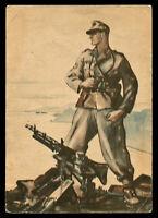 WW2 WWII Germany 3rd Reich Postcard German Hitler Army Soldier Feldpost 1941 PC