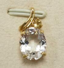 SYJEWELLERY FINE 9CT YELLOW GOLD OVAL NATURAL WHITE TOPAZ & CITRINE PENDANT P802