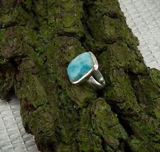 Larimar Ring Sterlingsilber/925 Cabochon Blau Rechteckig Grösse 57 (18,1 mm Ø)
