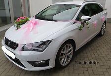 Hochzeit Brautauto 5x Schleifenset, Hochzeitsauto, Autodekoration Rose, Girlande
