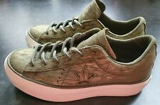 Converse One Star Platform Ox Green/Gold Sparkle Uk Size 4.5,worn once wrong fit