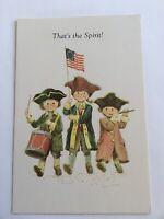 Vtg Embossed Patriotic Children Band USA Made Greeting Card Brick Mill Studios