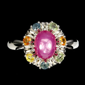 Oval Red Ruby 8x6mm Sapphire 14K White Gold Plate 925 Sterling Silver Ring Sz 9