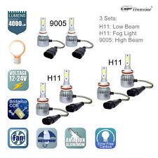 9005 + H11 + H11 (H8) Total 2940W LED Headlights High Low Beam +Fog Light Bulb