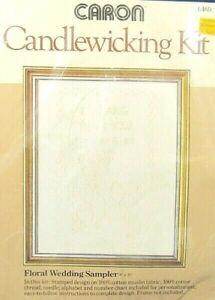 """Caron Stamped Candlewicking Kit 'Floral Wedding Sampler' 8""""x 10"""""""
