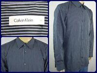 Calvin Klein Black Striped L/S Btn Front Dress Shirt Mens Lg Office Work Wear
