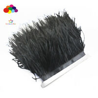 Hot 1/5/10 meters black Ostrich Feathers 8-15cm/3-6inch Fringe Ribbon Trim craft