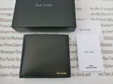 PAUL SMITH Exquisite Leather Wallet Mens Billfold Black Coin Wallets BNIB R£190