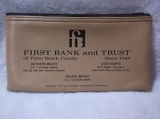 FIRST BANK and TRUST of Palm Beach County FL - Zippered Cash/Money Deposit Bag