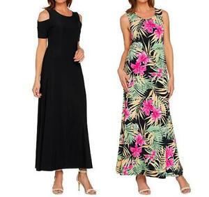 Attitudes by Renee Regular Solid & Printed Set of 2 Dresses- Black/Tropical, XS
