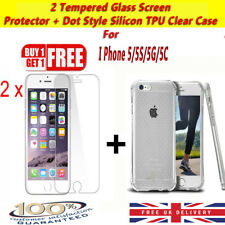 TWIN PACK- TEMPERED GLASS SCREEN PROTECTOR FOR IPHONE SE 5C 5S + Free Case Cover