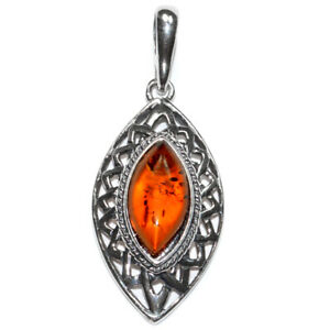 4.2g Authentic Baltic Amber 925 Sterling Silver Pendant Jewelry N-A648