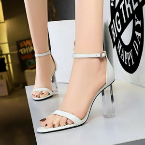 Womens Pointed Toe Buckle Strap Sandals Clear Block High Heels Party Dress Shoes