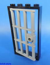 LEGO Prison Porte / 1x4x6 CADRE NOIR / avec insert grille gris clair