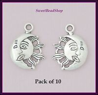 10 Antique Silver Colour Double Sided 26 x 20mm Sun Moon Face Pagan Charms