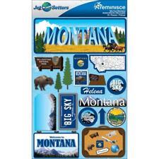 Scrapbooking Crafts Stickers 3D Montana Yellowstone Big Sky Helena Buffalo Trees