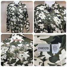 CHICO'S Fitted Camo Print Cotton Blouse w Embroidery Accents - Sz 2 (M)      Bn1