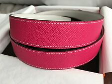 NIB Hermes 32mm Constance Belt Strap Only Rose Tyrien White Leather Size 90 85
