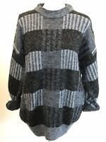 Vintage 80s Grandpa Oversized Sweater VSCO Girl Gray Paparazzi Paris F