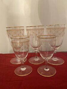 Set Of Vintage Baccarat 24k Gold Fleur-De-Lis 3 Wine & 2 Cordial Crystal Glasses