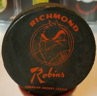 1974-75 VINTAGE AHL RICHMOND ROBINS  GAME PUCK OFFICIAL ART ROSS CONVERSE