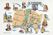 LA ROCHELLE Carte avec plan et célébrités illustré par Claude Suire Thomas