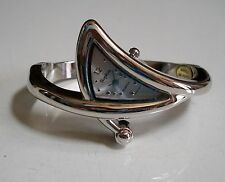 Designer style triangle silver finish fashion bangle women's watch