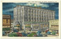 Dixie Hunt Hotel by night Gainesville Ga Vintage Postcard Georgia Linen
